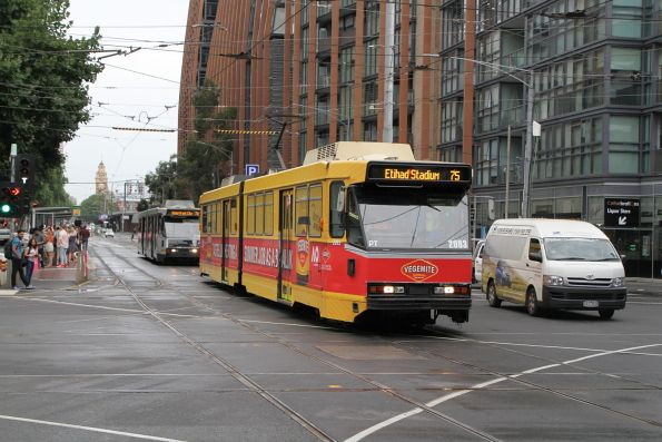 B2.2093 advertising 'Vegemite' heads west on route 75 at Flinders and Spencer Street