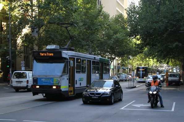 Failed tram A1.239 back on the move along route 48 at Collins and Queen Street