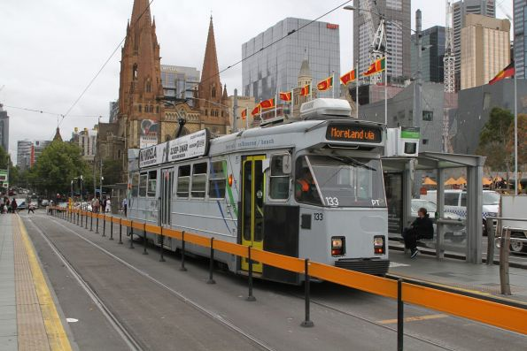Z3.133 heads south on route 8 at Federation Square