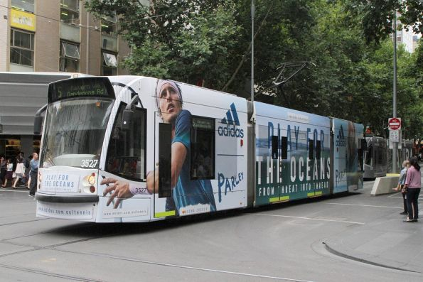 D1.3527 advertising 'Adidas' heads south on route 5 at Swanston and Bourke Street