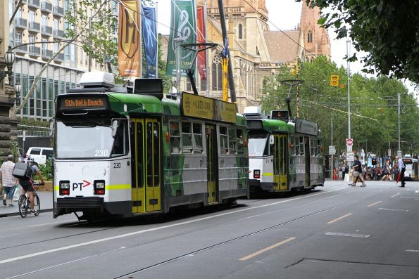 Z3.230 on route 1 and Z3.211 on route 6 head south at Swanston and Collins Street
