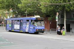 Driver changeover for A1.242 advertising 'Bank of Melbourne' on route 30 at La Trobe and Spencer Street