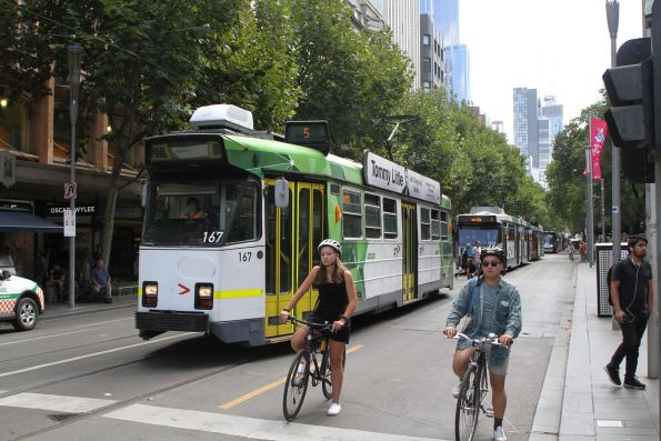 Z3.167 heads south on route 5 at Swanston and Collins Street