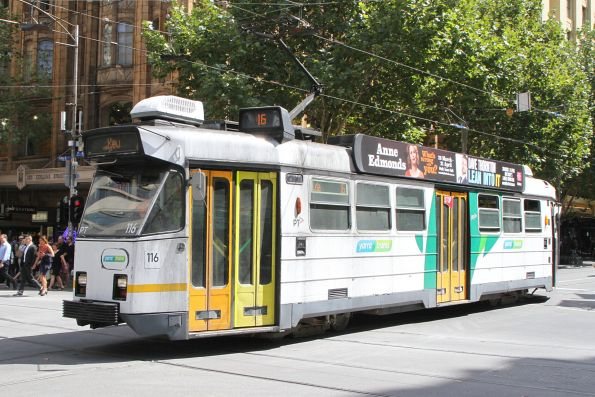 Z3.116 heads south on route 16 at Swanston and Collins Street
