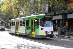 Freshly refurbished tram Z3.165 heads south on route 67 at Swanston and Bourke Street