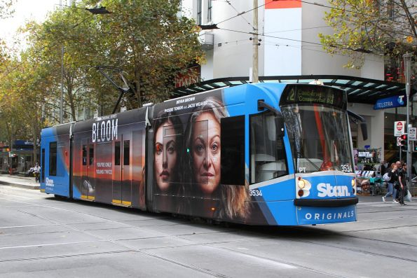D1.3534 advertising 'Stan' heads south on route 72 at Swanston and Bourke Street