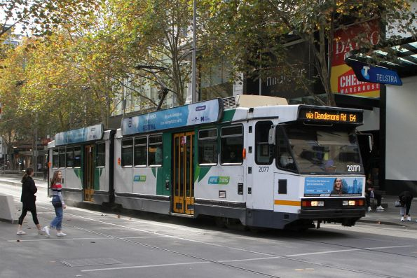 B2.2077 heads south on route 64 at Swanston and Bourke Street