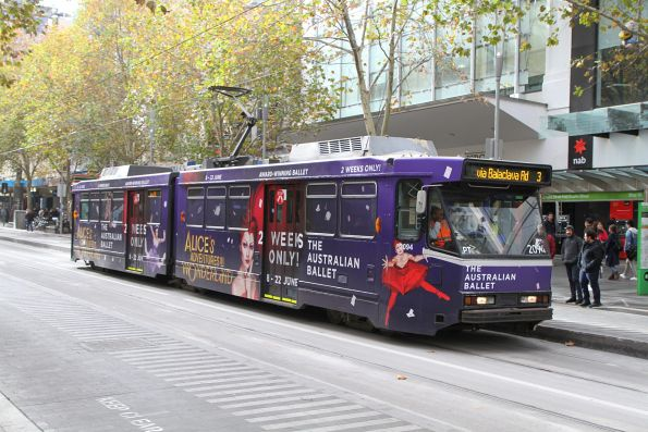 B2.2094 advertising 'The Australian Ballet' heads south on route 3 at Swanston and Bourke Street