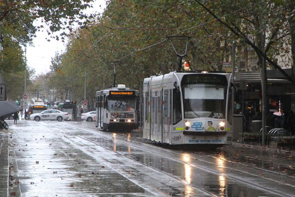 D1.3531 heads north on route 5 at Swanston and Bourke Street