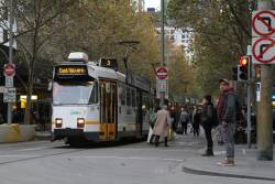 Z3.203 heads south on route 3 at Swanston and Bourke Street