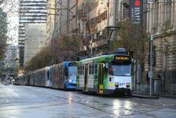 Z3.165 on route 3 leads a queue of southbound trams at Swanston and La Trobe Street