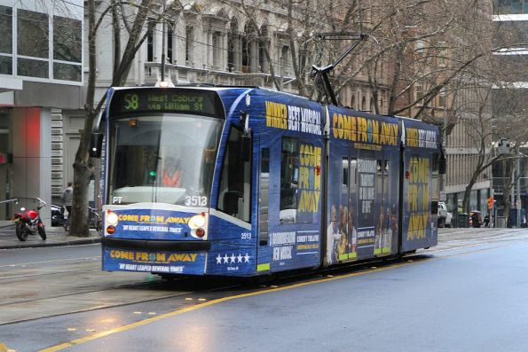 D1.3513 advertising 'Come from Away' heads north on route 58 at William and Little Collins Street