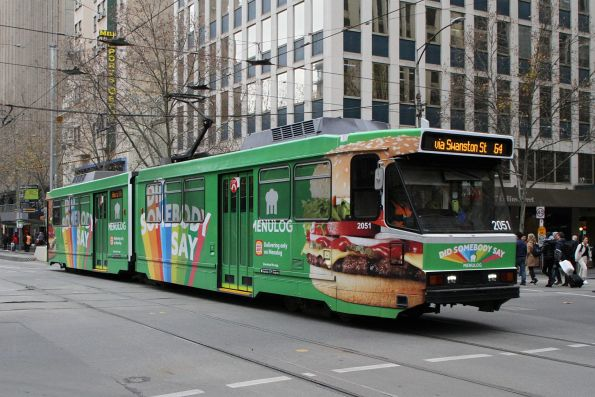 B2.2051 advertising 'Menulog' heads north on route 64 at Swanston and Collins Street
