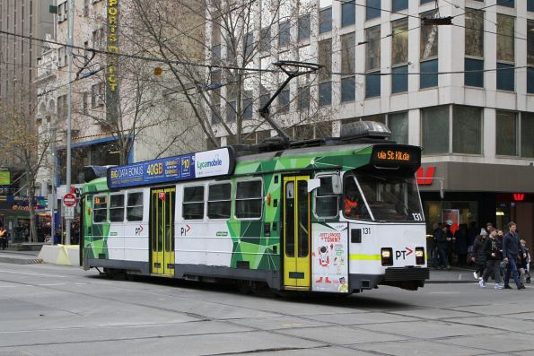 Z3.131 heads north on route 16 at Swanston and Collins Street