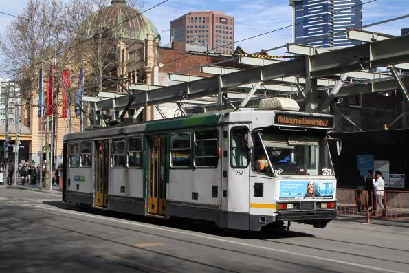 A1.257 heads north on route 64 at Swanston Street and Flinders Lane