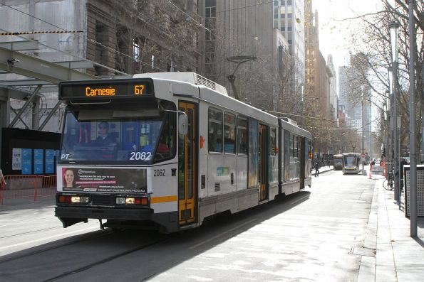 B2.2082 heads south on route 67 at Swanston and Flinders Street