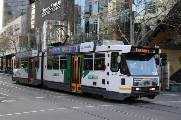 B2.2129 heads south on route 3a at Swanston and Lonsdale Street