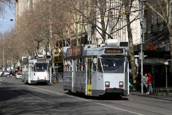 Z3.133 heads north on route 72 with Z3.218 on route 3 at Swanston and Bourke Street