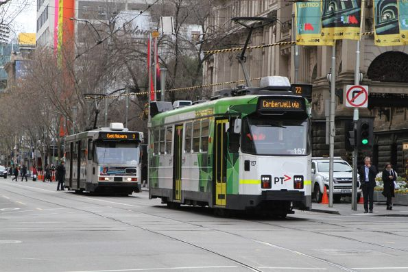 Z3.157 heads south on route 72 with A1.255 on route 3 at Swanston and Collins Street