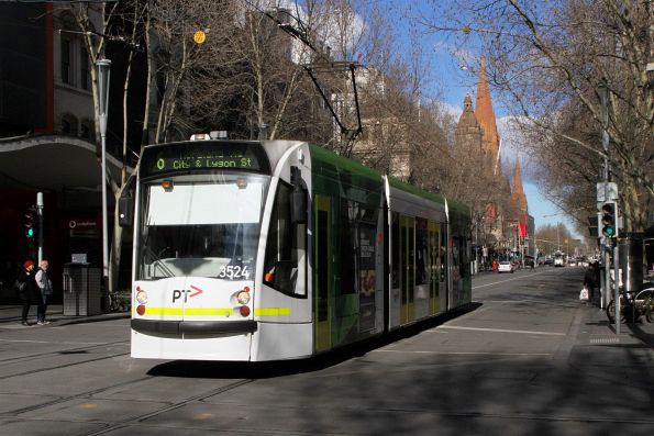 D1.3524 heads north on route 6 at Swanston and Bourke Street