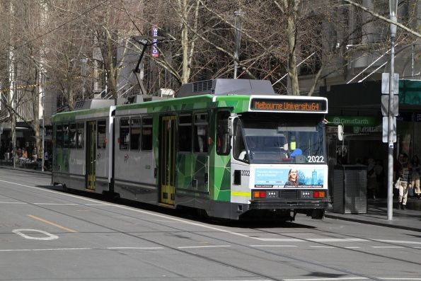 B2.2022 heads north on route 64 at Swanston and Bourke Street