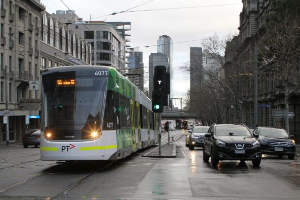 E2.6077 heads north on route 96 at Spencer and Collins Street