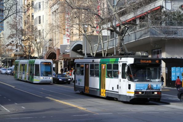 A2.300 on route 48 and C.3028 on route 109 heads west at Collins and Swanston Street