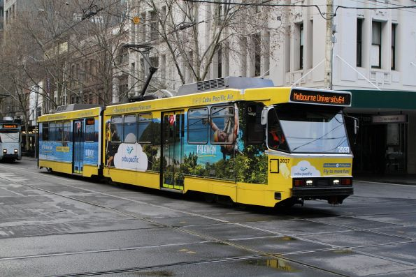 B2.2037 advertising 'Cebu Pacific' heads north on route 64 at Swanston and Bourke Street