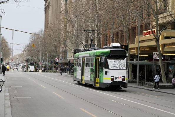Z3.116 heads north on route 5 at Swanston and Collins Street