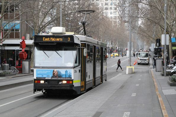 A1.256 heads south on route 3 at Swanston and Bourke Street