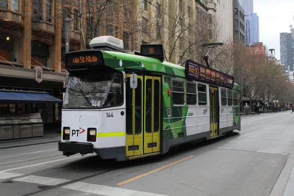 Z3.144 heads south on route 16 at Swanston and Collins Street