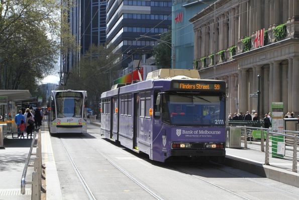 B2.2111 advertising 'Bank of Melbourne' heads south on route 59 at Elizabeth and Bourke Street