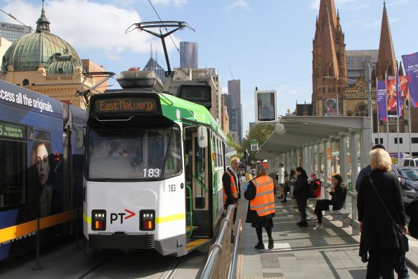 Z3.183 heads south on route 3 at Federation Square