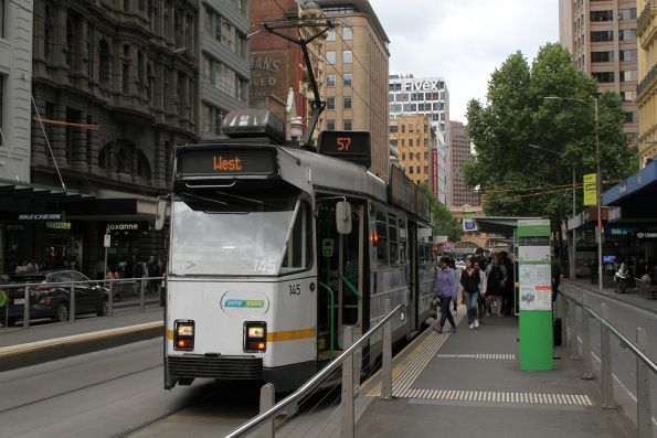 Z3.145 heads north on route 57 at Elizabeth and Collins Street