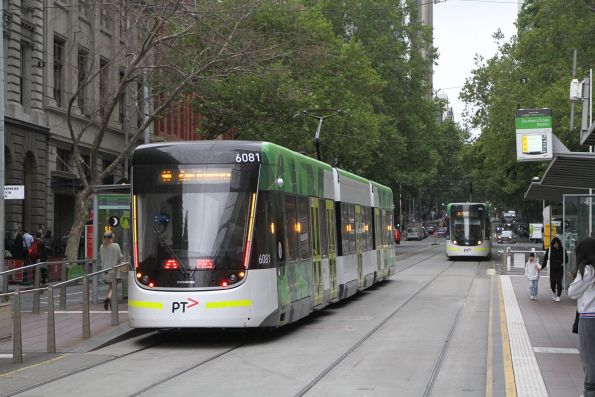 E2.6081 heads east on route 96 at Bourke and Spencer Street