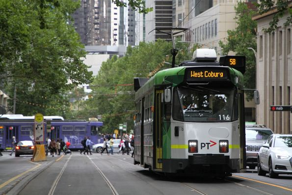 Z3.116 heads north on route 58 at William and Little Collins Street