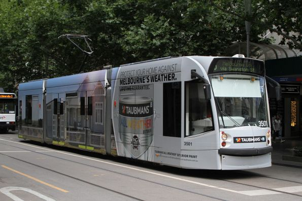 D1.3501 advertising 'Taubmans' heads north on route 5 at Swanston and Bourke Street