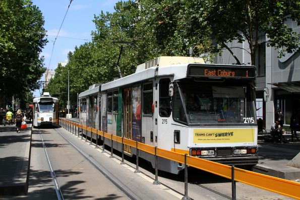 B2.2115 heads north on route 1 at Swanston and La Trobe Street