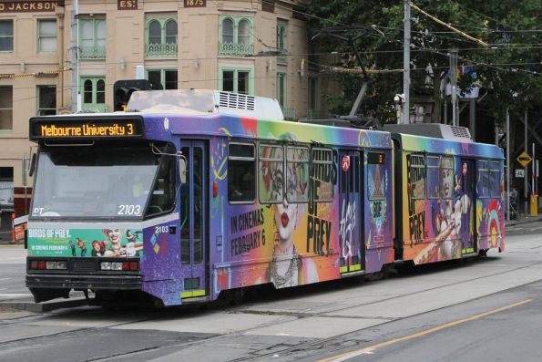 B2.2103 advertising 'Birds of Prey' heads north on route 3 at Swanston and Flinders Street