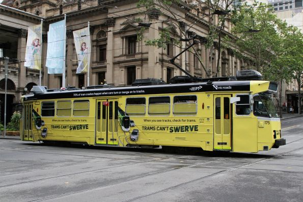Z3.175 advertising 'Trams Can't Swerve' heads south on route 5 at Swanston and Collins Street