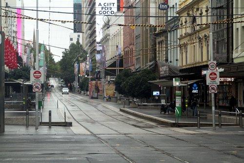 Bourke Street Mall completely empty