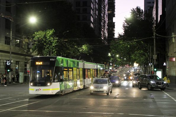 E2.6061 heads east on route 30 at La Trobe and Elizabeth Street