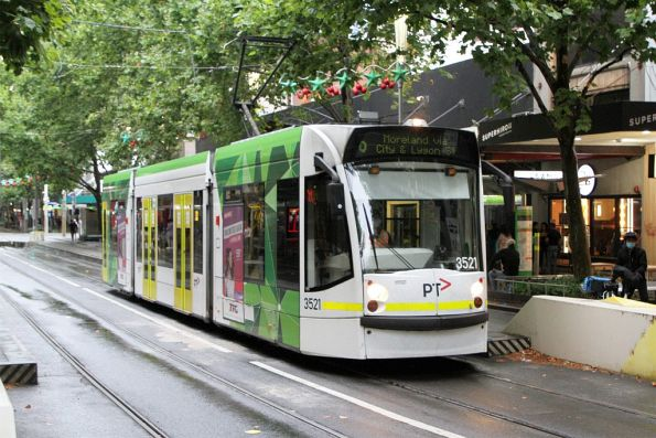 D1.3521 heads north on route 6 at Swanston and Little Bourke Street