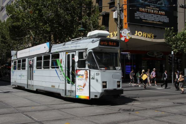 Z3.159 runs out of service west down Bourke Street