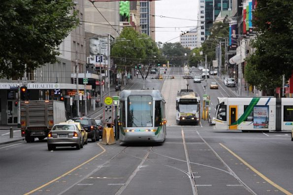 Trio of out of place trams at La Trobe and Elizabeth Street