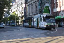 Long way from home! B2.2131 on route 55 turns from Swanston Street into La Trobe Street