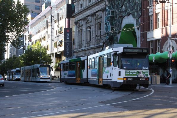 Route 59D tram on Swanston Street at La Trobe Street, bound for Docklands