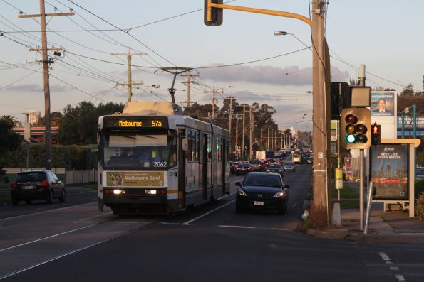 B2.2062 heads west on a route 57a service at Raleigh Road and Van Ness Avenue