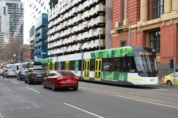 E.6029 heads south at Spencer and Bourke Street with a diverted route 11 service