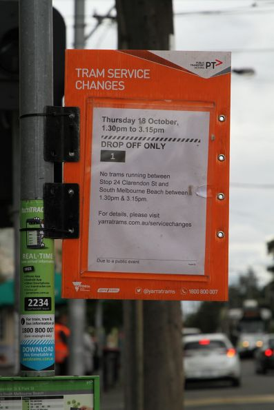 Notice that route 1 tram are terminating at Park and Clarendon Street